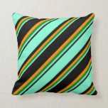 [ Thumbnail: Black, Aquamarine, Green & Dark Orange Colored Throw Pillow ]