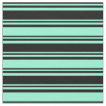 [ Thumbnail: Black & Aquamarine Striped Pattern Fabric ]