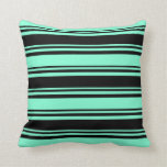 [ Thumbnail: Black & Aquamarine Striped Pattern Throw Pillow ]