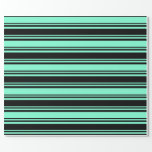 [ Thumbnail: Black & Aquamarine Striped Pattern Wrapping Paper ]
