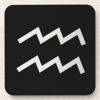 Black Aquarius 2 Zodiac January 20 - February 18 Coaster