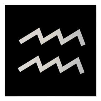 Black Aquarius 2 Zodiac January 20 - February 18 Poster