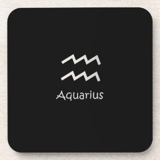 Black Aquarius Zodiac January 20 - February 18 Beverage Coaster