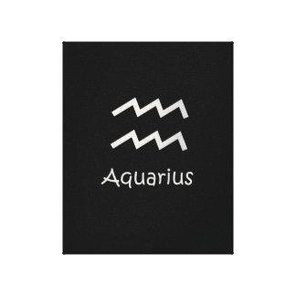 Black Aquarius Zodiac January 20 - February 18 Canvas Print