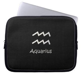 Black Aquarius Zodiac January 20 - February 18 Laptop Sleeve