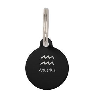 Black Aquarius Zodiac January 20 - February 18 Pet Name Tag