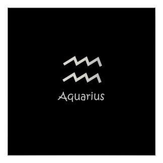 Black Aquarius Zodiac January 20 - February 18 Poster