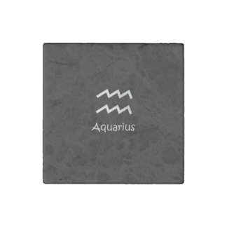 Black Aquarius Zodiac January 20 - February 18 Stone Magnet