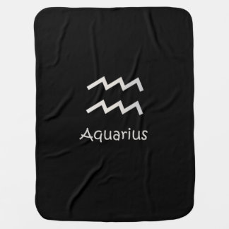 Black Aquarius Zodiac January 20 - February 18 Swaddle Blanket
