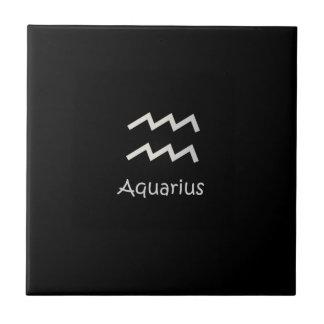 Black Aquarius Zodiac January 20 - February 18 Tile