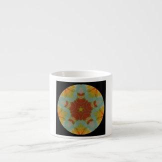 Black Aqui Red Gold Star Mandala Espresso Cup
