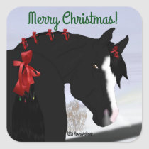 Black Arabian Horse Christmas Square Sticker