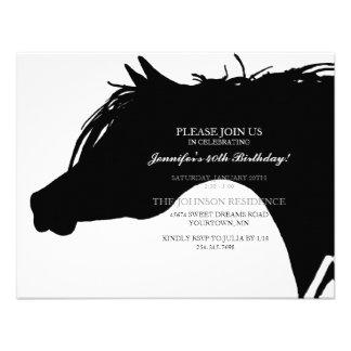 Black Arabian Horse Head Birthday Party Invitation