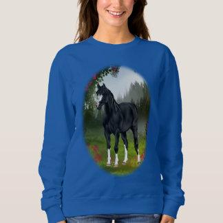 Black Arabian Horse in Spring Meadow Sweatshirt