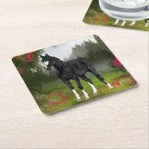 Black Arabian Horse Print Square Paper Coaster