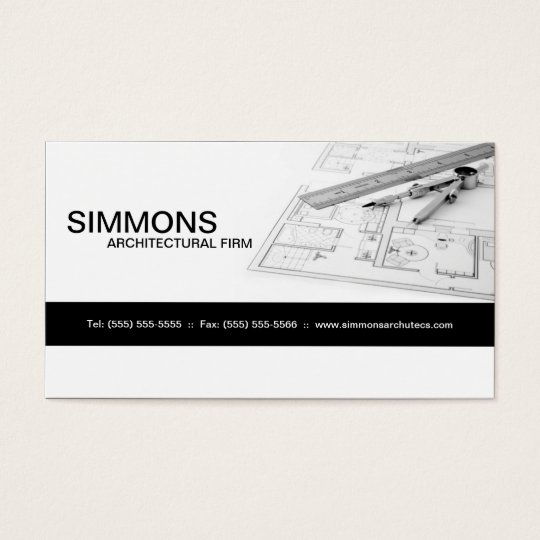 Black Architectural Blue Print Business Card