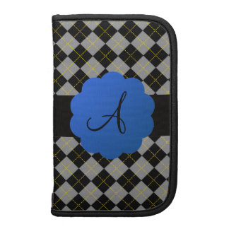 Black argyle blue scallop monogram organizers