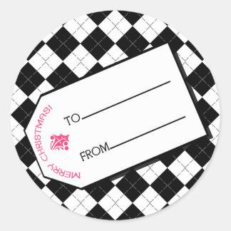 Black Argyle Christmas Gift Tag Sticker