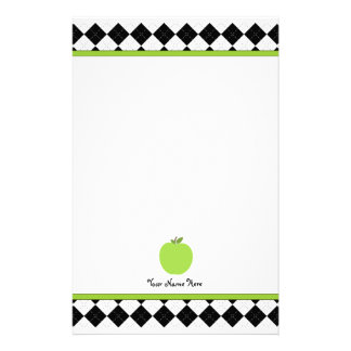 Black Argyle Green Apple Personalized Teacher Stationery