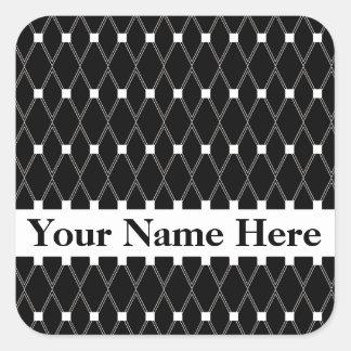 Black Argyle Lattice with monogram Square Sticker