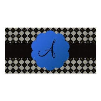 Black argyle monogram photo card
