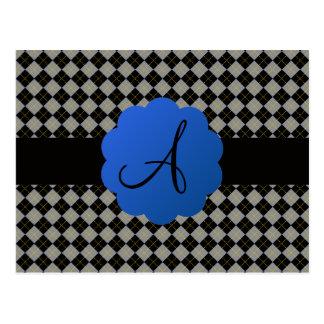 Black argyle monogram postcards