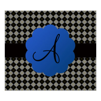 Black argyle monogram print