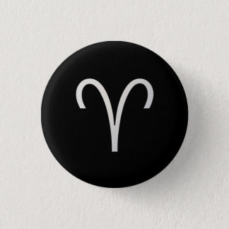Black Aries Zodiac March 21 - April 19 Astrology Pinback Button