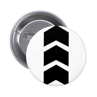 black arrow up pinback button