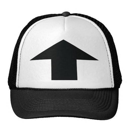 black arrow up trucker hat