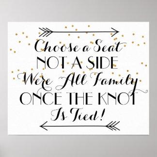 Black Arrows Gold Confettin Wedding Seating Poster