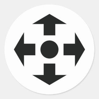 black arrows icon classic round sticker