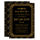 Black Art Deco Birthday Party Invites at Zazzle