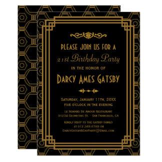 Black Art Deco Birthday Party Invites