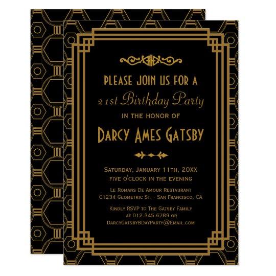 Black Art Deco Birthday Party Invites Zazzlecom