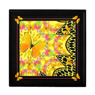 Black Art Deco Golden butterflies Art Keepsake Box