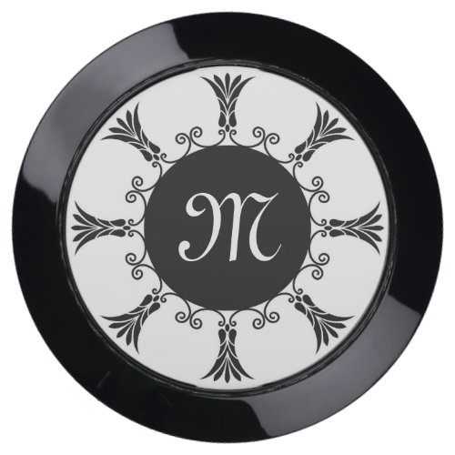 Black Art Deco Pattern Monogrammed USB Charging Station