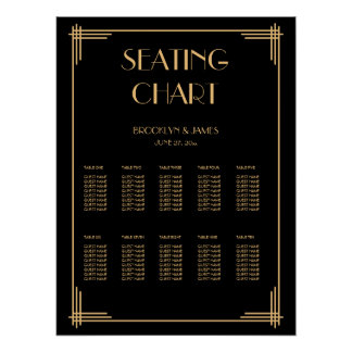 Black Art Deco Wedding Seating Chart Poster 18x24