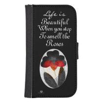 Black Art Flowers Life Is Beautiful Galaxy S4 Wallet Case