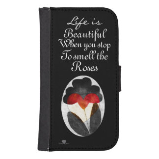 Black Art Flowers Life Is Beautiful Galaxy S4 Wallet Case