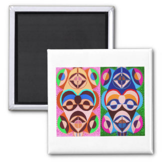 BLACK art in COLOR .. Freedom of expression 2 Inch Square Magnet