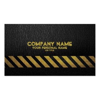 Black Asphalt Construction Build Hazard Stripe Business Card Templates