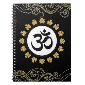 Black Aum Om Symbol Gold Flourish & Trim Notebook