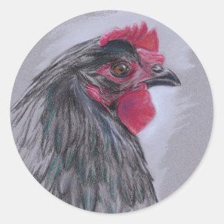 Black Australorp Hen Classic Round Sticker