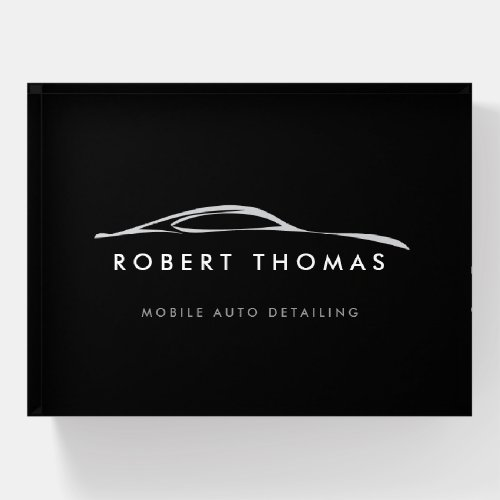Black Auto Detailing, Auto Repair Logo Paperweight