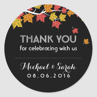 Black Autumn Maple Leaves Fall Thank You Sticker