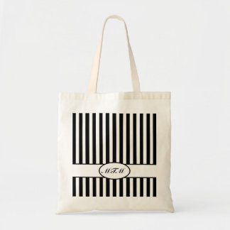 Black Autumnal Stripes with monogram Tote Bag