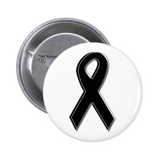 Black Awareness Ribbon Pinback Button