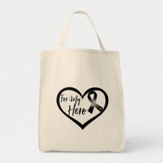 Black Awareness Ribbon For My Hero Tote Bag