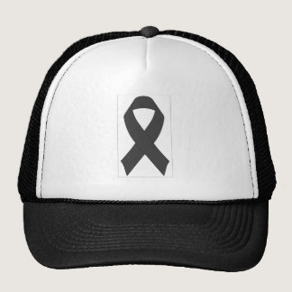 Black Awareness Ribbon Hat. Trucker Hat
